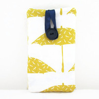 Umbrella print phone case , yellow hand printed fabric phone sleeve cover , suitable for Iphone 5s 5c 4s samsung galaxy s2 , UK seller