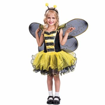 High Quality Yellow Dress Wings Bumble Bee Butterfly Party Cosplay Costumes Girl
