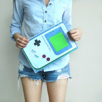 Upcycled Vinyl Classic 2D Gameboy Console Shaped Clutch Bag from DOTOLY