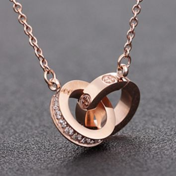 """Cartier""Rose gold necklace female contracted 2-ring student day short summer, Japan and titanium steel Mosaic gold 18 k collarbone chain pendant"