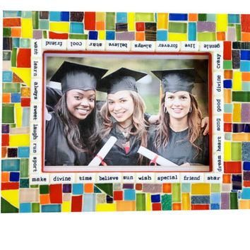 Graduation Gift, Multicolored Mosaic Frame, Words of Wisdom