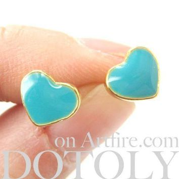 Small Heart Shaped Stud Earrings in Turquoise Blue and Gold