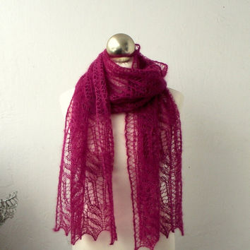 Dark Rose hand knitted lace scarf with Frost Flowers pattern
