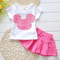 2016 New Cute Girls Kids Clothes Sets Outfits Toddler Kids Minnie Mouse T-shirt + Shorts 2pcs Cartoon Clothing Set 2-7 Years