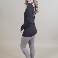 Silas Long Sleeve Strappy Back Tee, Black