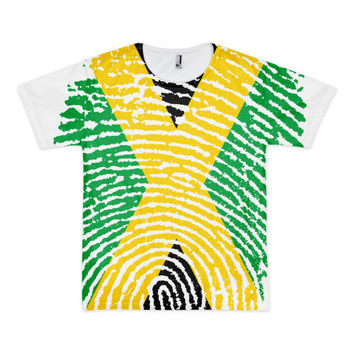 Jamaican Fingerprint Flag Short Sleeve American Apparel T-Shirt