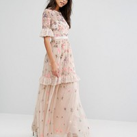 Needle & Thread Ditsy Scatter Embellished Maxi Dress at asos.com