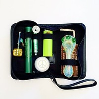 LARGE GREEN Original Smoker's Travel Kit; Case, Clip, Screens, Storage Tube, Metal Tobacco Burner, Lighter, Container, Glass Incense Burner, Papers, Hempwick, Poker, Glass Incense Burner Wired Cleaner