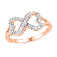 1/6 CT. T.W. Diamond Sideways Heart-Shaped Infinity Ring in 10K Rose Gold