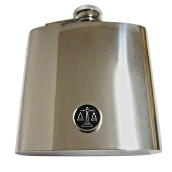 Black Scale of Justice 6 Oz. Stainless Steel Flask