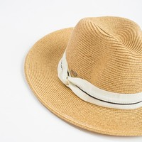 Laura Ivory Stripe Band Straw Hat