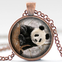 Snowy Panda Bear Necklace, Panda Bear Jewelry, Panda Pendant, Your Choice of Finish (1869)