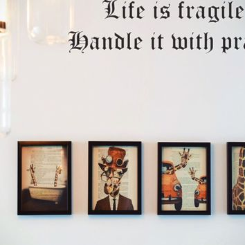 Life is fragile. Handle it with prayer Style 17 Vinyl Decal Sticker Removable