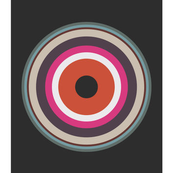 "Original Art Print, ""Around in Circles 002,"" 11x14, Geometric, Target, Abstract, Pink, Red, White"
