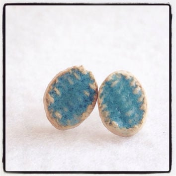 Ceramic Handmade Beautiful Turquoise blue glazed textured stud ceramic earrings on Silver plated surgical steel hypoallergenic OOAK
