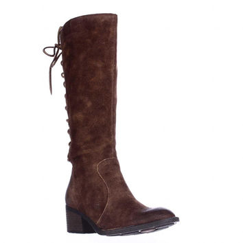 Born Azurite Back Lace Up Knee High Boots - Rust