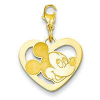 Gold-plated SS Disney Mickey Heart Lobster Clasp Charm