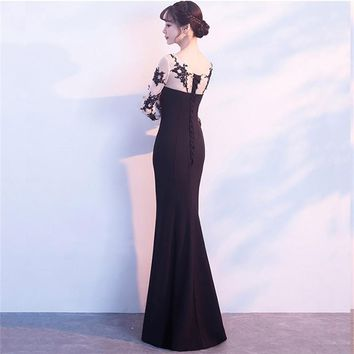 Long Sleeves Lace Up Elegant Evening Dresses Floor Length Party Gown