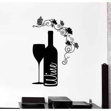 Vinyl Wall Decal Wine Bottle Glass Grape Alcohol Bar Stickers Unique Gift (ig4232)