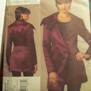 SALE Uncut Vogue Sewing Pattern, 1211! 12-14-16-18 Medium/Large/XL/Women's/Misses, High Fashion Couture Jacket/Coat/Guy Laroche/Long Sleeve
