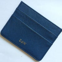 E&W Navy Blue Saffiano Leather Card Holder