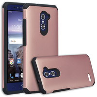 ZTE ZMAX Pro Case, ZTE Blade X Max, ZTE Carry, Slim Hybrid Dual Layer Armor[Shock Absorbent] Case for ZMAX Pro - Rose Gold
