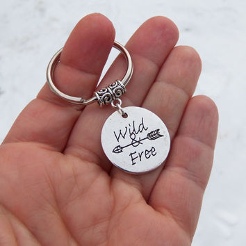 Wild and free keychain, arrow keychain, hipster, tribal, free people, hippie, hippy, boho, new age, native american, bohemian, rebel, indian