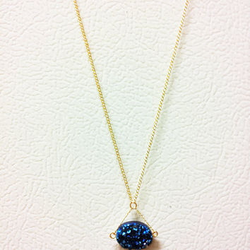Royal Blue Druzy Necklace -14k Flat Gold Fill Chain, Thin Simple Semi Precious Quartz Gemstone, Thin Triangle Design