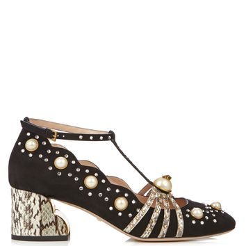 Ofelia embellished suede and elaphe pumps | Gucci | MATCHESFASHION.COM