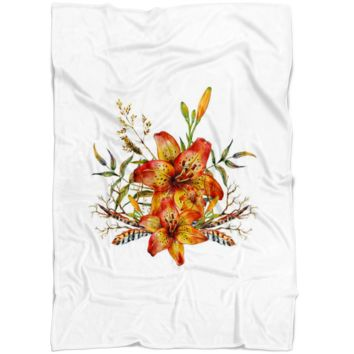 Tiger Lily Bouquet v4 - Fleece Blanket