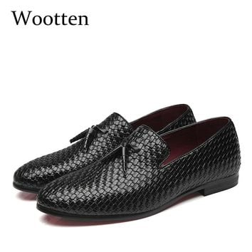 plus size mens shoes casual leather social luxury driving brand adult dress designer fashion loafers #7515