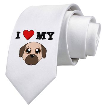 I Heart My - Cute Pug Dog - Fawn Printed White Necktie by TooLoud