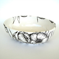 Ceramic Bowl Hand Painted Poppies Illustrated Black White Poppy Flowers Leaves Nature Home Decor
