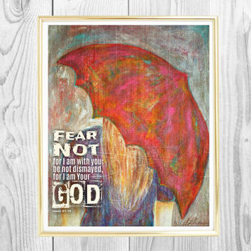 Fear Not, Isaiah 41:10,  Red Umbrella Art, Girl With Umbrella Art, Mix Media Art, Painting, Wall Decor, Scripture Print