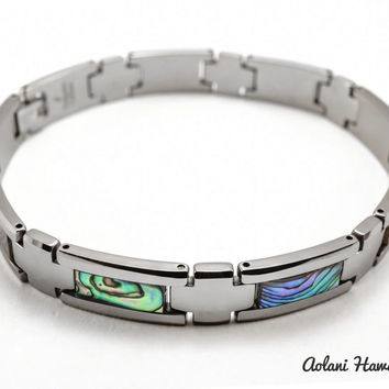 "Tungsten Link Bracelet with Abalone Mother of Pearl Abalone Shell Inlay (10mm width, 9"" inch in length)"