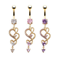 New Style Heart Crystal Rhinestone Navel Ring Belly Piercing Jewelry Gold Plated Button Bar Ring = 4804822916