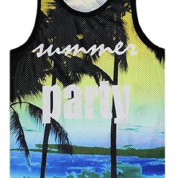 Summer Party All Over Print Tank Top - Palm Trees Beach Tank Top