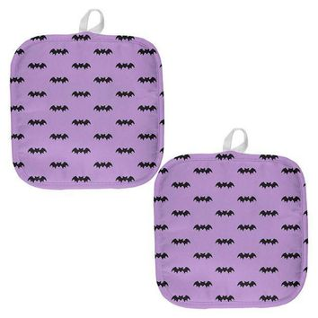 PEAPGQ9 Halloween Bats Pattern All Over Pot Holder (Set of 2)