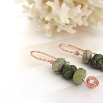 Natural Stone Earrings Green Jasper Beads on Copper Wire Dangles Chinese Button Knot Bead Nature Jewelry Boho Style Christmas Gift for Mom