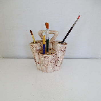 Paintbrush Holder Vintage Hand Painted Ceramic Paint Brush Holder Handmade Ceramic Paint Brush Caddy Pottery Flower Arrangement Vase
