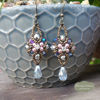 Vintage Style Crystal and Glass Beaded Earrings, Victorian Style Jewelry, Bead Woven Jewelry, Beaded Fashion Jewelry, Dangle Earrings