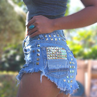 Levi High waisted denim shorts distressed frayed studded Grunge hipster punk clothing Custom Made To Order by Jeansonly