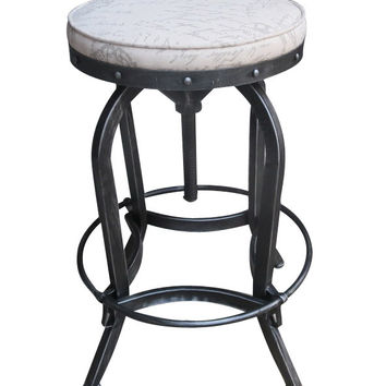 Magnusson Swivel Iron French Script Fabric Bar stool