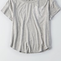 AEO Women's Soft & Sexy Graphic T-shirt (Heather Grey)