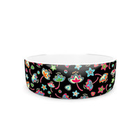 "Julia Grifol ""Sweet Flowers"" Multicolor Black Pet Bowl"