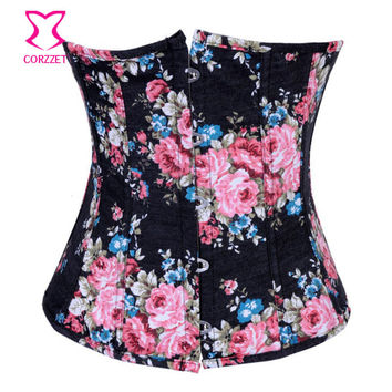 Black Floral Print Denim Corset Underbust Waist Training Corsets and Bustiers Burlesque Short Bustier Sexy Korsett For Women