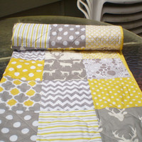 Deer Baby quilt,Baby boy bedding,baby girl quilt,grey, yellow,Patchwork Crib quilt,chevron,rustic baby,woodland,toddler,stag,organic,Oh Deer
