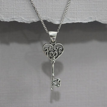Key Necklace, Sterling Silver Key Necklace, Sterling Silver Key Pendant on Sterling Silver Necklace Chain