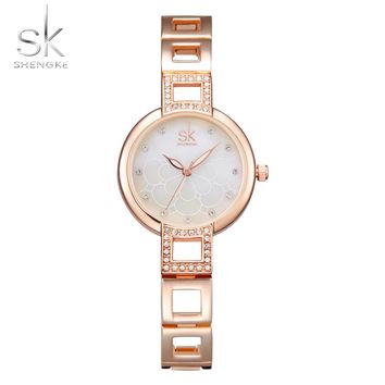 Shengke Women Watches Fashion Bracelet Wrist Watches Top Luxury Brand Girl Watch Formal Dress Clock For Female Montre Femme 2017