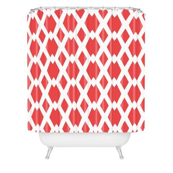 Lisa Argyropoulos Daffy Lattice Coral Shower Curtain